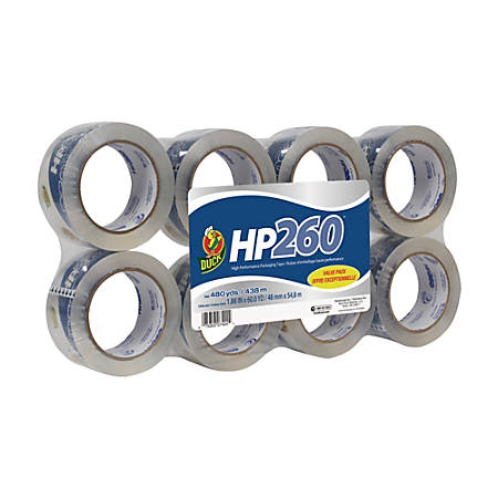 """Duck® HP260™ Packaging Tape, 1 7/8"""" x 60 Yd., Clear, Pack Of 8"""