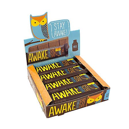 AWAKE Caffeinated Milk Chocolate Bars, 1.5 Oz, Pack Of 12