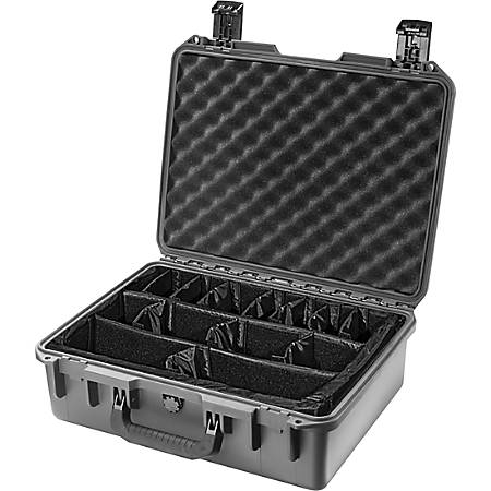 """Pelican iM2400 Storm Case with Padded Dividers - Internal Dimensions: 18"""" Width x 6.70"""" Depth x 13"""" Height - External Dimensions: 19.2"""" Width x 7.3"""" Depth x 15.2"""" Height - 6.81 gal - Press & Pull Latch, Hasp Closure - HPX Resin - For Military"""