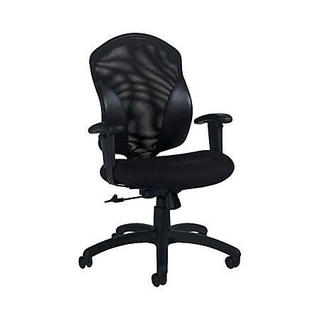 "Global® Tye Mid-Back Fabric Tilter Chair, 41""H x 25""W x 26""D, Black Frame, Black Fabric"