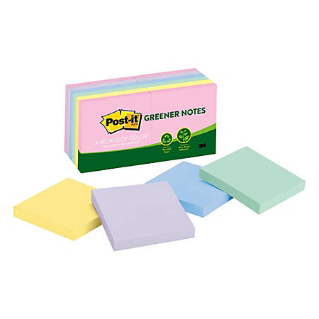 "Post-it® Notes Greener Notes, 3"" x 3"", 100% Recycled, Helsinki, Pack Of 12 Pads"