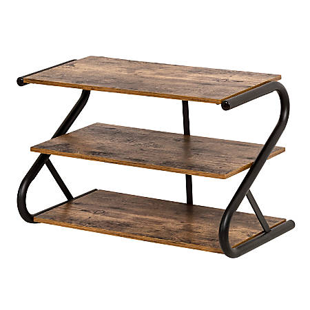"""Honey Can Do Rustic Z-Frame 3-Level Shoe Rack, 16""""H x 13-1/2""""W x 25-11/16""""D, Brown"""