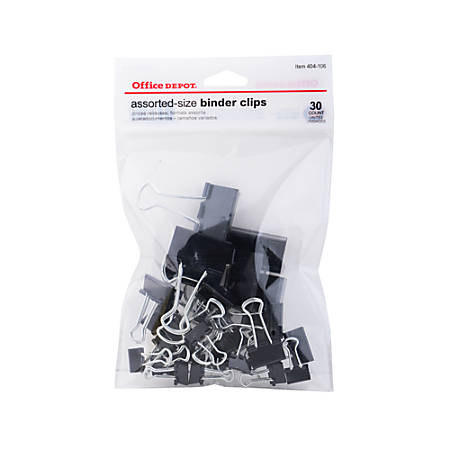 Office Depot® Brand Binder Clips, Assorted Sizes, Black, Pack Of 30