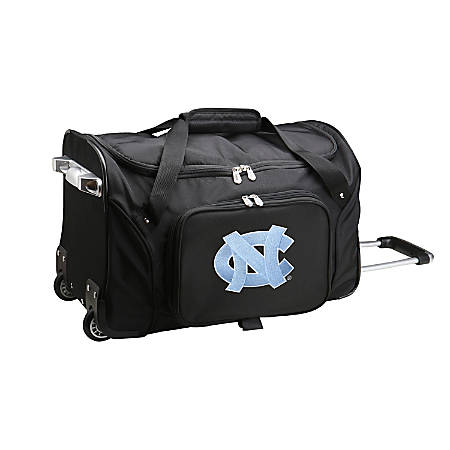 Denco Sports Luggage Rolling Duffel Bag, North Carolina Tar Heels, Black
