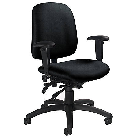 "Global® Goal™ Low-Back Multi-Tilter Task Chair, 36""H x 25""W x 22 1/2""D, Black Frame, Gray Fabric"