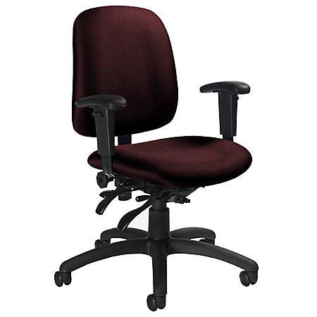 "Global® Goal™ Low-Back Multi-Tilter Task Chair, 36""H x 25""W x 22 1/2""D, Black Frame, Burgundy Fabric"