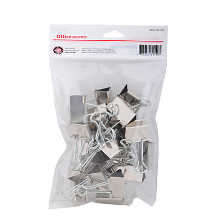"""Office Depot® Brand Binder Clips, Small, 3/4"""" Wide, 3/8"""" Capacity, Silver, Pack Of 24"""