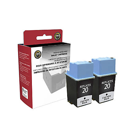 Clover Technologies Group OD14DNX2 Remanufactured Ink Cartridge Replacement For HP 20 Black, Pack Of 2