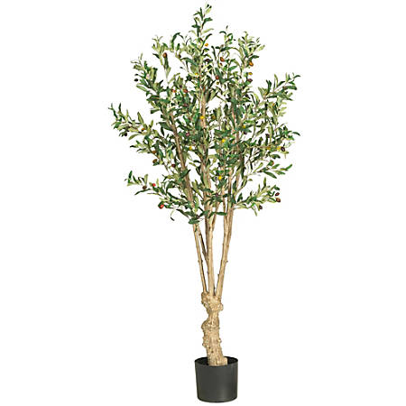 Nearly Natural 5'H Silk Olive Tree With Pot, Green