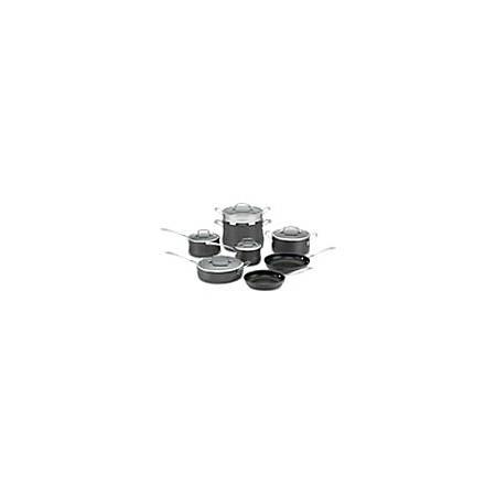 "Cuisinart Contour Hard Anodized Cookware - 1.5 quart Saucepan, 2.5 quart Saucepan, 3 quart Saute, 4 quart Dutch Oven, 8 quart Stockpot, 8"" Diameter Skillet, 10"" Diameter Skillet, Lid, Steamer Insert - Tempered Glass Lid, Anodized Aluminum - Oven Safe"