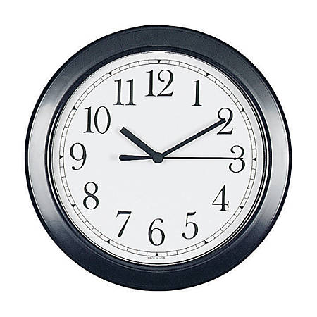 "Round 8 1/2"" Wall Clock, Black Frame"