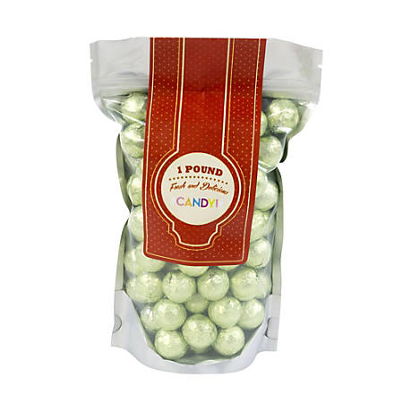 Sweetworks Foil-Wrapped Solid Milk Chocolate Balls, 1 Lb, Leaf Green