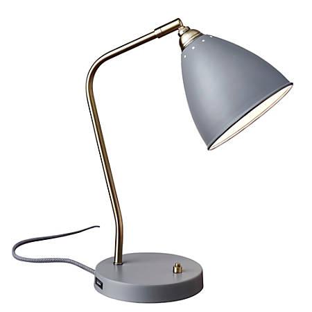 "Adesso® Chelsea Desk Lamp, 21""H, Gray Shade/Gray Base"