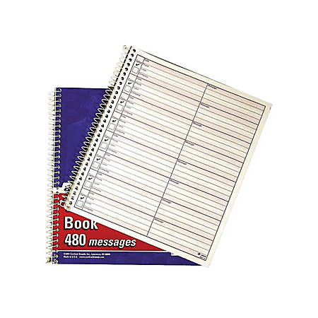 """Adams® Voicemail Log Books, 7 1/2"""" x 8 1/2"""", 120 Pages, White/Canary Yellow, Pack Of 2"""
