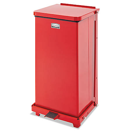 Rubbermaid® Commercial Defenders® Square Steel Step Can, 12 Gallons, Red