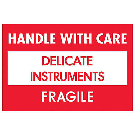 "Tape Logic® Fragile Labels, DL1308, Handle With Care - Delicate Instruments - Fragile, 2"" x 3"", Red/White, Roll Of 500"