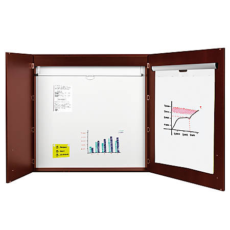 "MasterVision™ Contemporary 2-Door Conference Cabinets With Platinum Pure White Dry-Erase Surface, 48"" x 48"", Cherry"