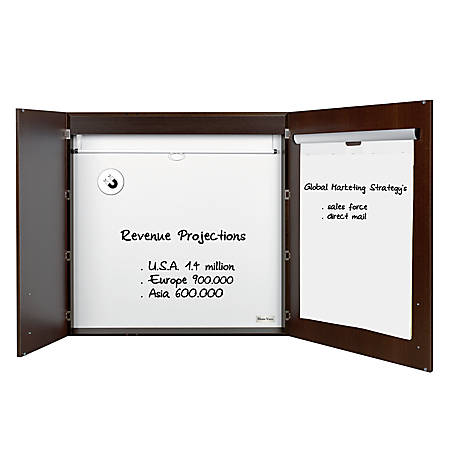 "MasterVision™ Contemporary 2-Door Conference Cabinets With Platinum Pure White Dry-Erase Surface, 48"" x 48"", Ebony"