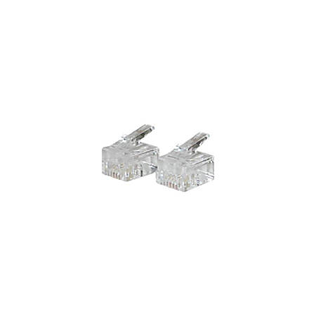 C2G RJ11 6x4 Modular Plug for Round Solid Cable - 50pk - RJ-11