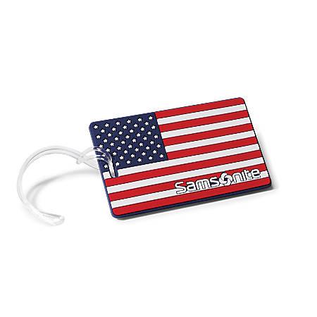 """Samsonite® PVC ID Tag, 4""""H x 3""""W x 1/16""""D, American Flag"""