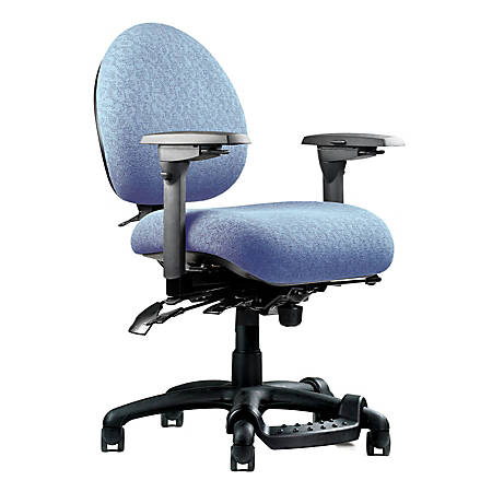 "Neutral Posture® 5500 Mid-Back Fabric Chair With Fring™ Footrest, 38""H x 26""W x 26""D, Black Frame, Sky Blue Fabric"