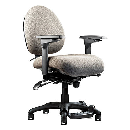 """Neutral Posture® 5500 Mid-Back Fabric Chair With Fring™ Footrest, 38""""H x 26""""W x 26""""D, Black Frame, Fog Fabric"""