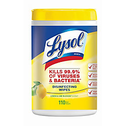 Lysol® Disinfecting Wipes, Lemon & Lime Blossom Scent, Tub Of 110