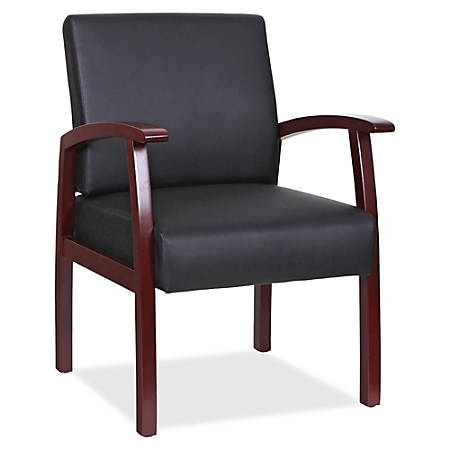 Lorell® Wood Guest Chair, Black Leather/Mahogany Frame