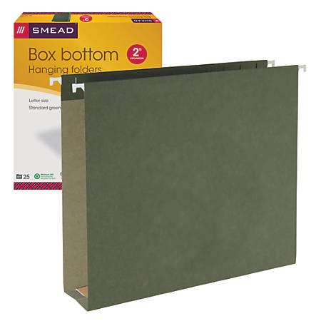 "Smead® Hanging Box-Bottom File Folders, 2"" Expansion, Letter Size, Standard Green, Box Of 25"
