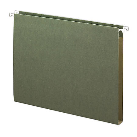"""Smead® Premium Box-Bottom Hanging Folders, 1"""" Expansion, Letter Size, Standard Green, Box Of 25"""