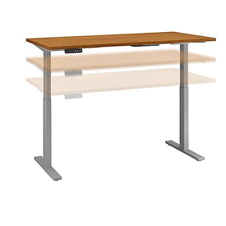 "Bush Business Furniture Move 60 Series 60""W x 30""D Height Adjustable Standing Desk, Natural Cherry/Cool Gray Metallic, Premium Installation"