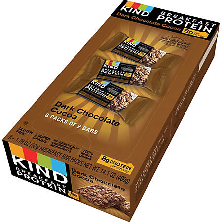 KIND Breakfast Protein Bars, Dark Chocolate Cocoa, 1.76 Oz, Pack Of 8