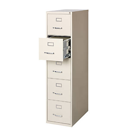 "WorkPro® 26-1/2""D Vertical 5-Drawer File Cabinet, Metal, Putty"