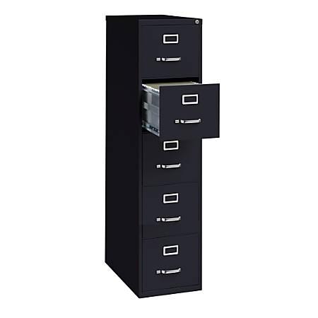 """WorkPro® 26 1/2""""D 5-Drawer Letter-Size Metal Vertical File Cabinet, Black"""