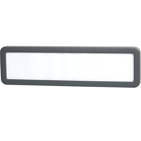 "Office Depot® Brand Cubicle Name Plate, 2 5/8"" x 9 1/8"" x 7/8"", 30% Recycled, Charcoal"