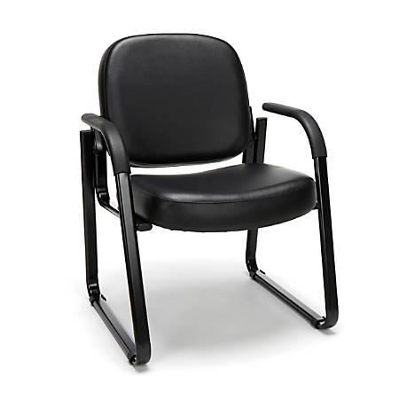 "OFM Deluxe Anti-Microbial Vinyl Guest Chair, 34""H x 24""W x 27""D, Black Frame, Black Vinyl"