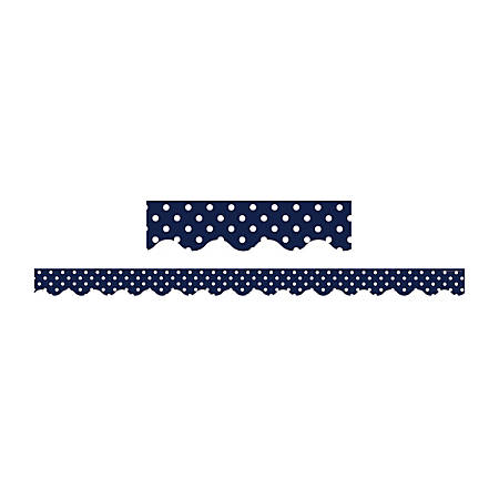 """Teacher Created Resources Border Trim, Scalloped, 2 3/16"""" x 35"""", Navy Polka Dots, Pre-K - College, Pack Of 12"""