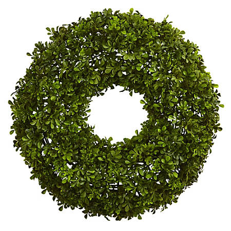 """Nearly Natural Plastic Boxwood Wreath, 22"""", Kelly Green"""