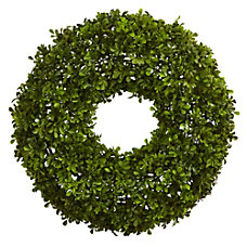 Nearly Natural Plastic Boxwood Wreath 22