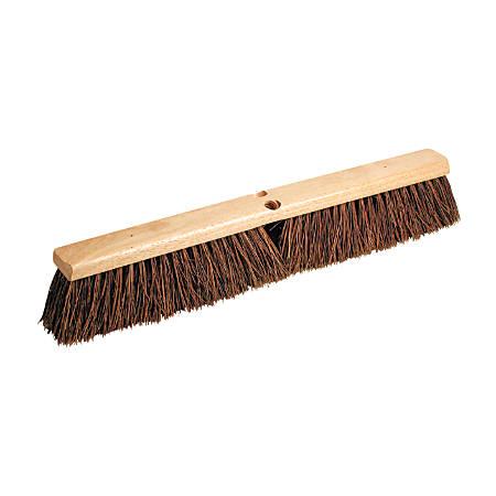 "Proline Brush Hardwood Block Floor Broom Head, 2 1/2"" Natural Palmyra Fiber Bristles, 18"", Black"