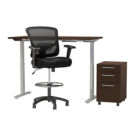"Move 60 Series by Bush Business Furniture 60""W Height Adjustable Standing Desk With Storage And Drafting Chair, Mocha Cherry Satin, Standard Delivery"