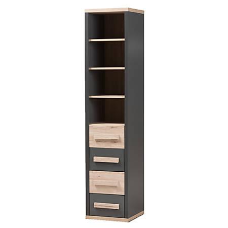 Baxton Studio Mert Storage Cabinet, Dark Gray/Oak Light Brown