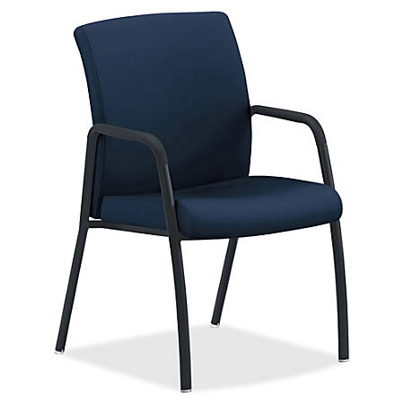 "HON Ignition 4-Leg Guest Chair - Fabric Navy, Wood, Polyester Seat - Fabric Navy, Wood, Polyester Back - Steel Frame - Four-legged Base - 16.75"" Seat Width x 16.75"" Seat Depth - 23"" Width x 24"" Depth x 35.5"" Height"