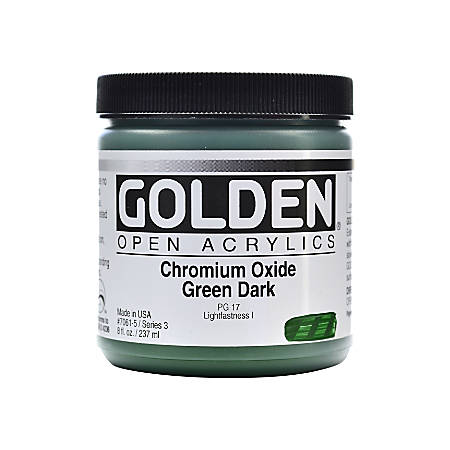Golden OPEN Acrylic Paint, 8 Oz Jar, Chromium Oxide Green Dark