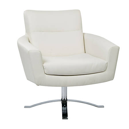 Ave Six Nova Faux Leather Arm Chair, White/Chrome