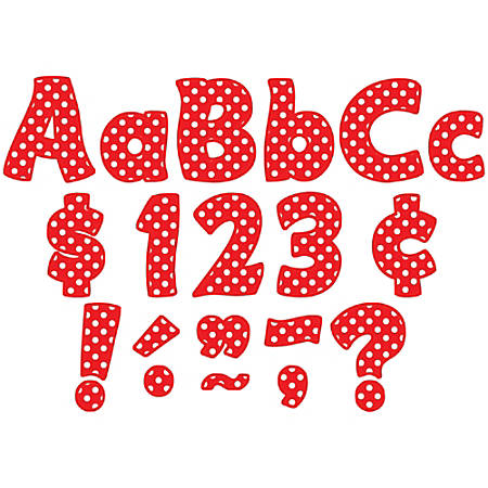"Teacher Created Resources Funtastic Font Polka Dot Letters And Numbers, 4"", Red, Pre-K - Grade 8, Pack Of 208"