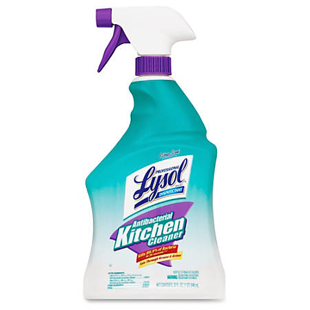 Lysol Anti-bact. Kitchen Cleaner - Spray - 0.25 gal (32 fl oz) - Fresh Citrus ScentBottle - 12 / Carton - Off White