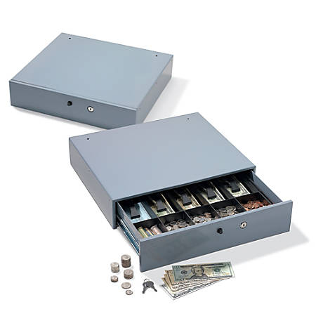 "Office Depot® Brand Large-Capacity Manual Cash Drawer, 3 7/8""H x 17 3/4""W x 15 7/8""D, Gray"