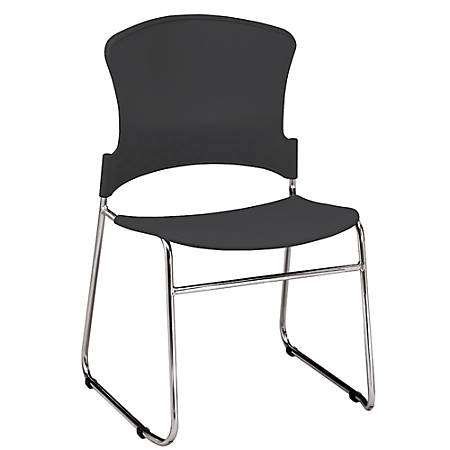 """OFM Multi-Use Stack Chair, Plastic Seat & Back, 33""""H x 21""""W x 22""""D, Black, Pack Of 4"""