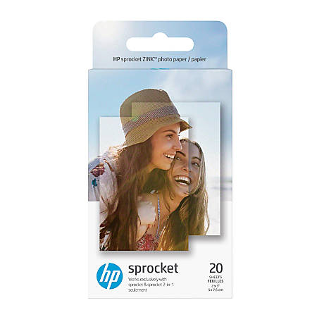 "HP ZINK Sticky-Backed Photo Paper, 2"" x 3"", Pack Of 20"